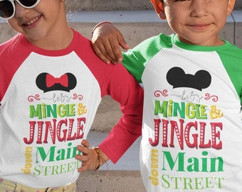 Let's Mingle and Jingle Down Main Street Christmas Shirt  | Disney Shirts | Family Christmas Shirt | Mens, Womens, Kids, Matching Family