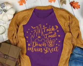 Disney Halloween Shirt   Trick or Treat Down Main Street USA   Disney Shirt  Disney Plus Size Shirt   Magic Kingdom Shirt   Mickey Halloween