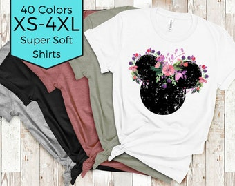 Floral Disney Shirt | Minnie Mouse Shirt | Epcot Shirt | Mickey Mouse Shirt | Women's Disney Shirts | Plus Size Disney | Disneyland Shirts