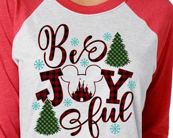 Be Joyful Buffalo Plaid Disney Christmas Shirt  | Disney Shirts | Family Christmas Shirt | Plus Size Disney Shirt | Women's Christmas Shirt