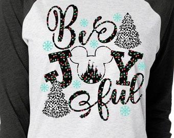 Be Joyful Cheetah Trees Disney Christmas Shirt  | Disney Shirts | Family Christmas Shirt | Plus Size Disney Shirt | Women's Christmas Shirt