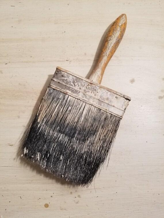 Vintage Paint Brush Wallpaper Large Wood Handle Farmhouse Decor Chippy Paint