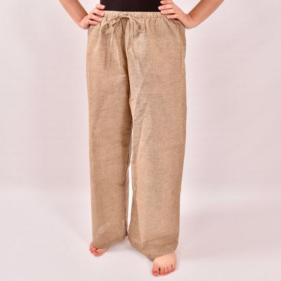 Drawstring Pants for Men Linen Cotton. Light Brown Color.