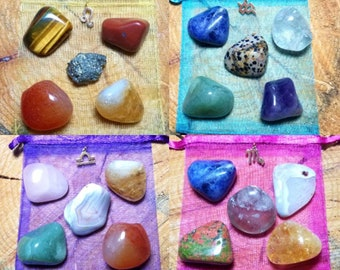 Zodiac / Astrological Sign Gemstone Sets - Tumbled Polished Stone - Birthday Gift - Rock Collection Crystal Healing Pocket Gems