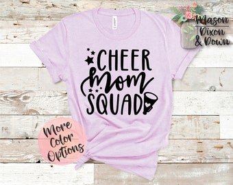 2db48a2e9dac Cheer Mom Squad T Shirt gift for her, Choose from 70+ Colors