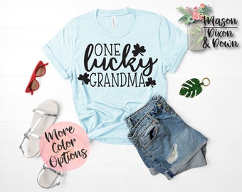 b9364b8a One Lucky Grandma, St Patrick's Day T Shirt, gift for her, Choose from 70+  Colors