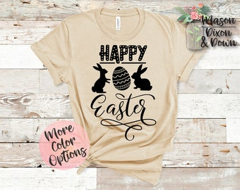 824a8490c Happy Easter with Eggs and Bunny, Easter T Shirt gift for her, Choose from  70+ Colors