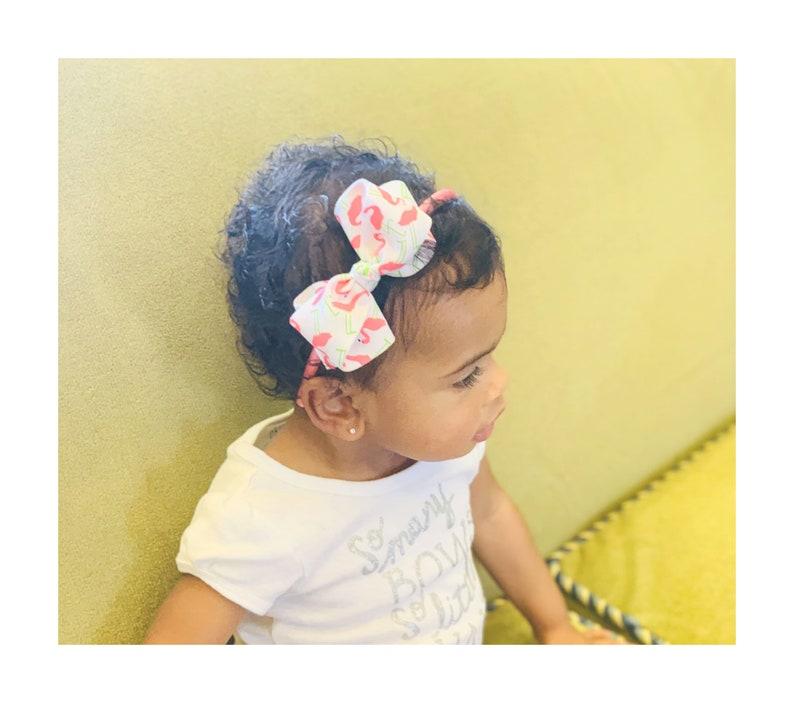 Grosgrain Hair Bow Toddler Hair Bow Girls Headband Girls Fun Flamingo Print Hair Bow Headband