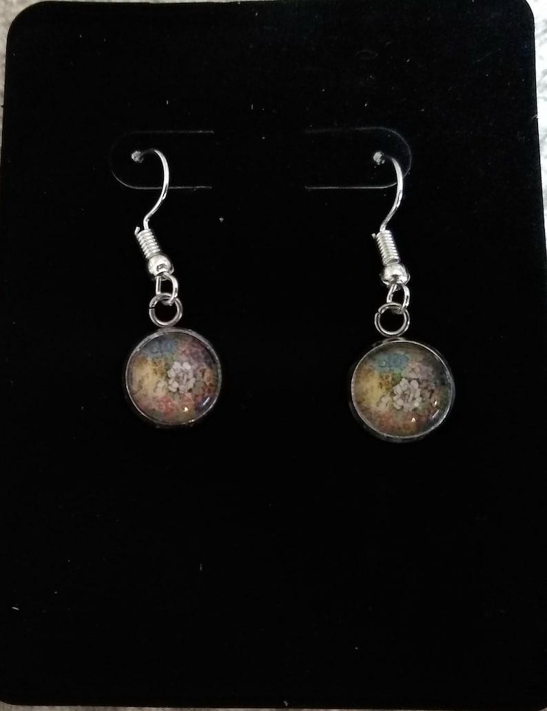 Design 52 Polish Pottery necklace Choice of Pendant w Glass Cabochon Silver  earrings Polska Poland Polski /& black cord yellow floral
