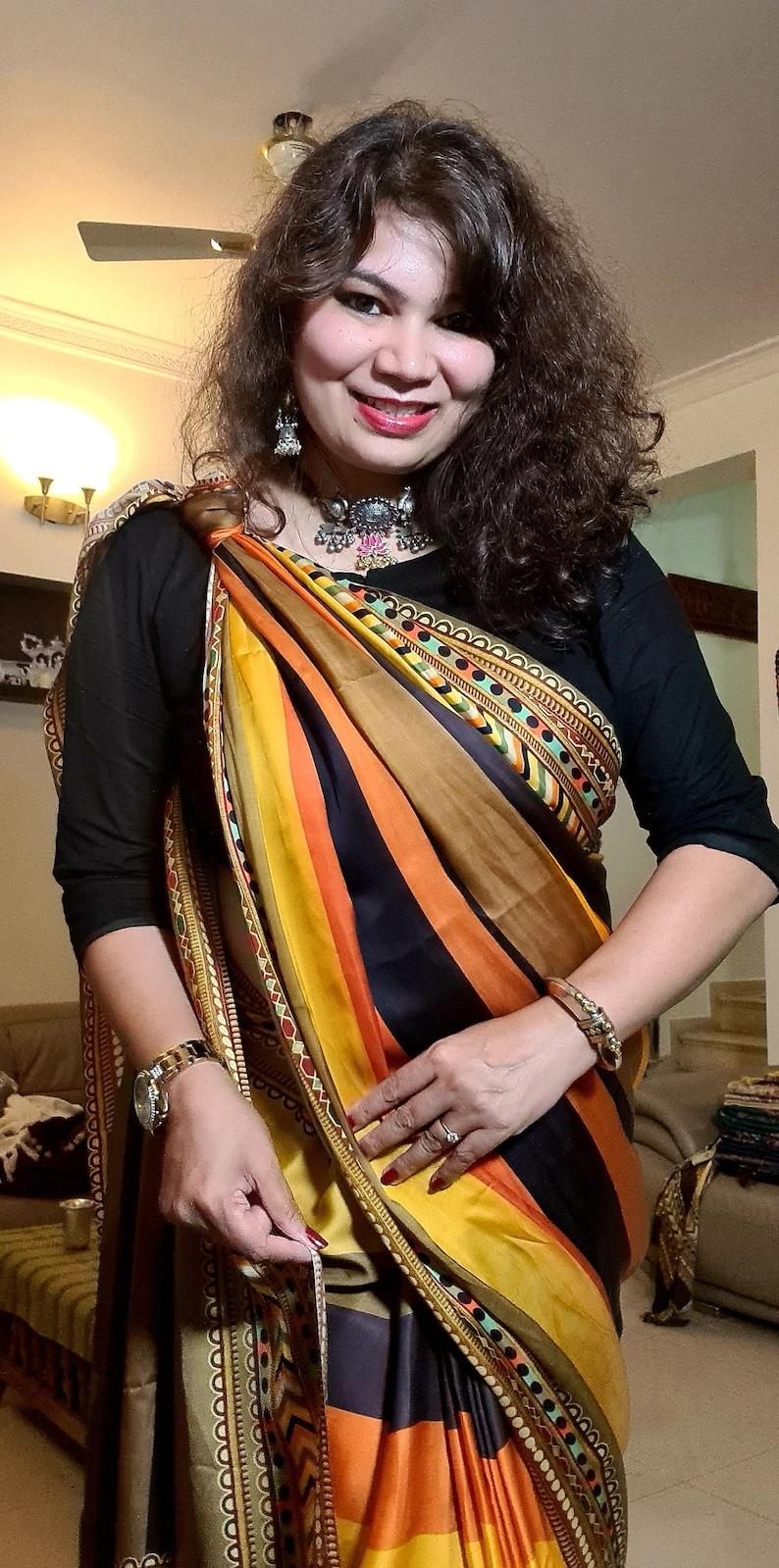 Zynah Pure Satin Silk digital printed saree custom stitchedreadymade blouse,fall,petticoat,available in USA