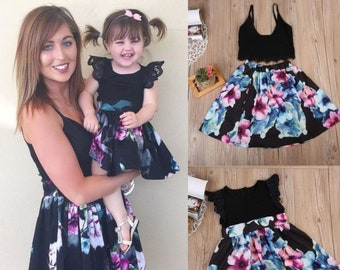 2472f8f5eee Spring Dress Matching - Cute Daughter Mother Matching Outfits Floral Kids  Dress Women Top Skirt Set