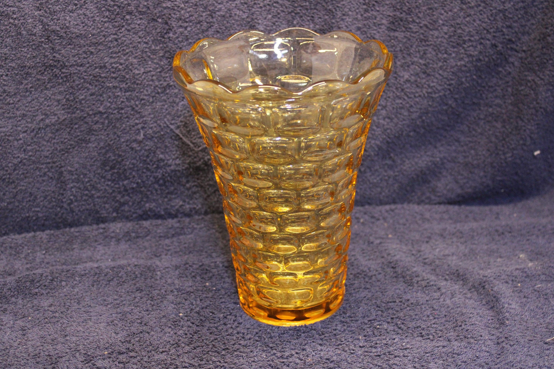 Block Pattern Vintage 1950/'s Federal Yorktown Amber Color Glass Vase No Damage