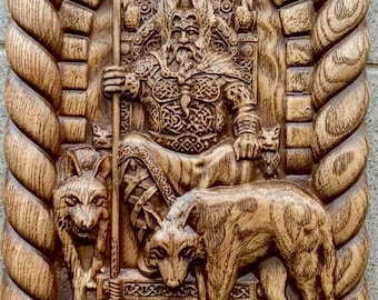ODIN wooden panel Hand carved Odin God figurine Grand Father God picture Hand crafted carving wooden statue Wotan Asatru Celtic wall hanging