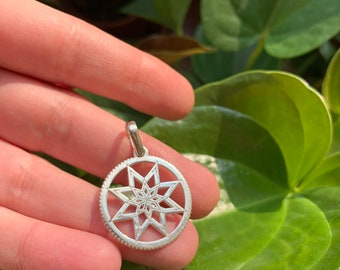 Alatyr Slavic Protect pendant Sterling Silver Kolovrat pendant Alatyr Sunwheel necklace Silver Pagan jewelry solar Slavic jewellery Алатырь