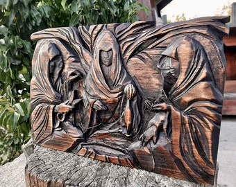 NORNS wooden Hand carved picture Norns Norse Gods Hand crafted carving wooden wall art Wood Viking wood panel