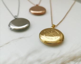 Amulet necklace with engraving for opening for photos in silver, rosé or gold in stainless steel. Locket hinged 25 mm, gift personalized