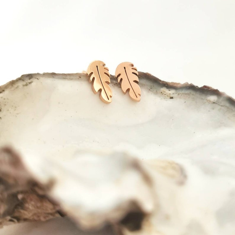 mini stud earrings silver feather earrings gold Feather earrings in stainless steel in gold silver ros\u00e9 1 pair ros\u00e9 stud earrings small