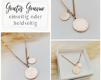 Personalized necklace with 15 mm and 10 mm engraving plates in gold, silver or rosé, gold necklace, name chain, gift mom,Mother's Day