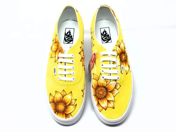 Custom Sunflower Themed Shoes: Vans Authentic Low Top with flower Design front to back | Vans Custom shoes