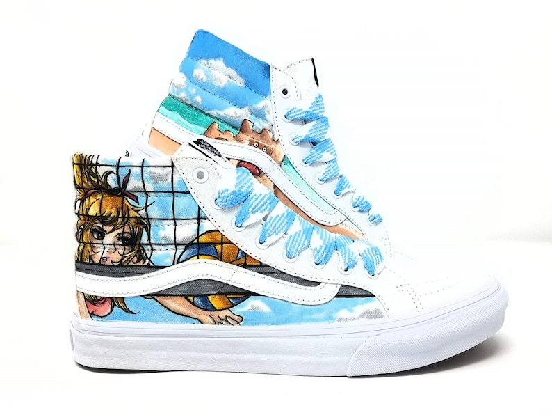 Custom Hand Drawn Beach Themed Shoes: Vans Sk8-hi with Volleyball and Beach  Design | Vans Custom shoes | Summer Sneakers