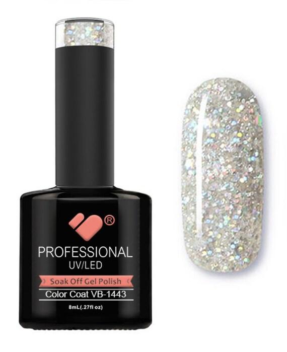 VB 1443 VB Line Happy Silver Glitter Saturated Gel Nail Polish
