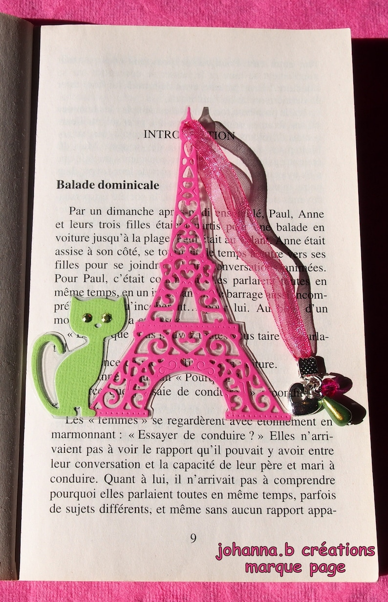 Www Un Temps Pour Elles Com bookmark plastified cat - eiffel tower