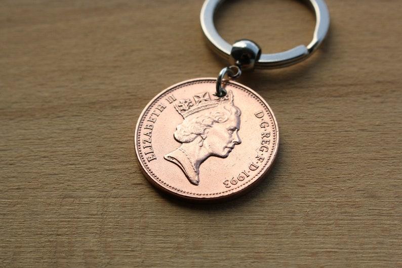 27th Birthday 27th Anniversary 1993 2P 2 Pence 2 Penny Keychain