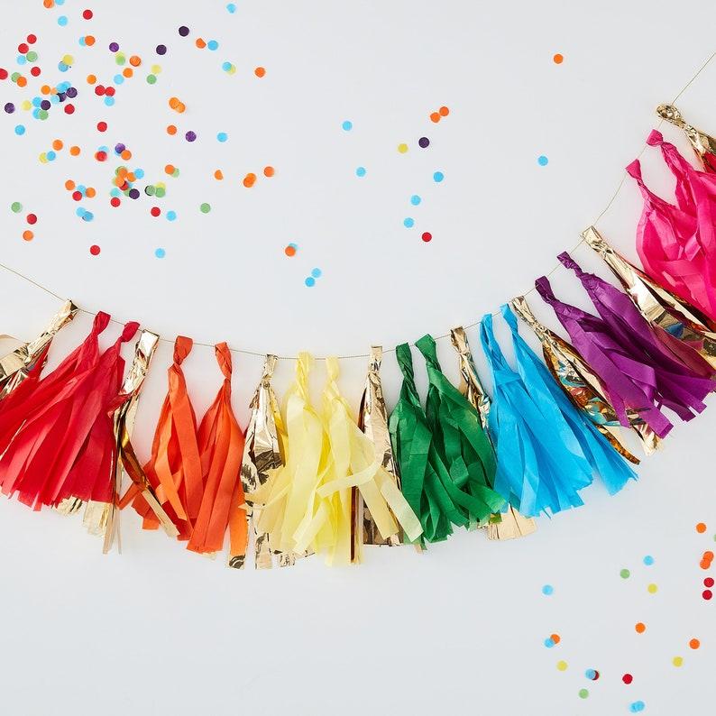 New Rainbow Paper Garlands 3.65m