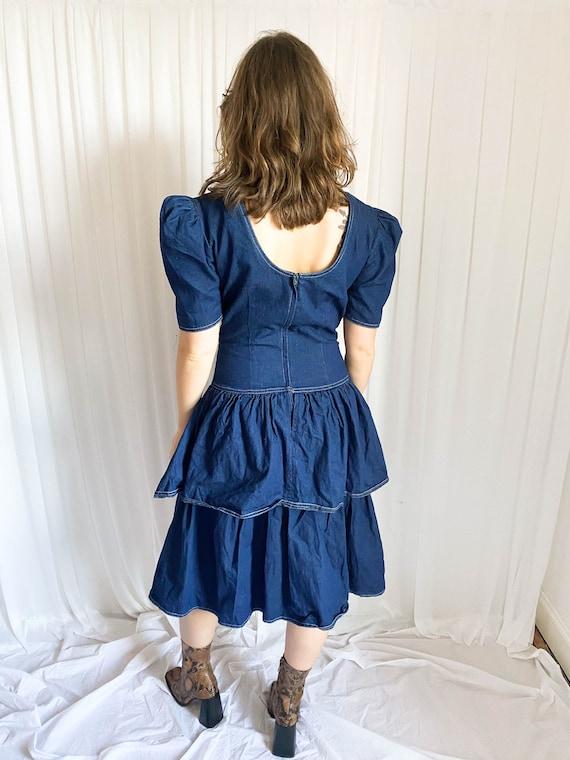 Vintage 80's Denim Tiered Dress - image 3