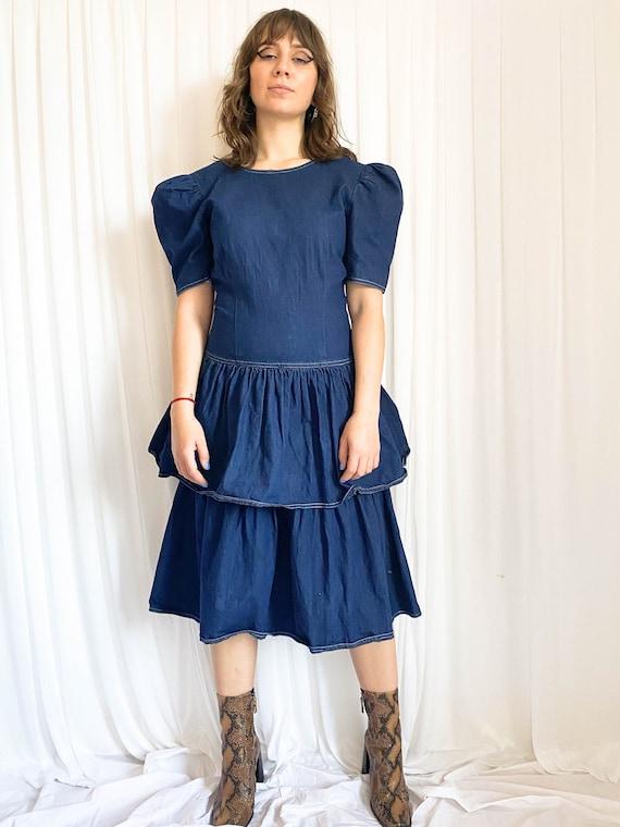 Vintage 80's Denim Tiered Dress