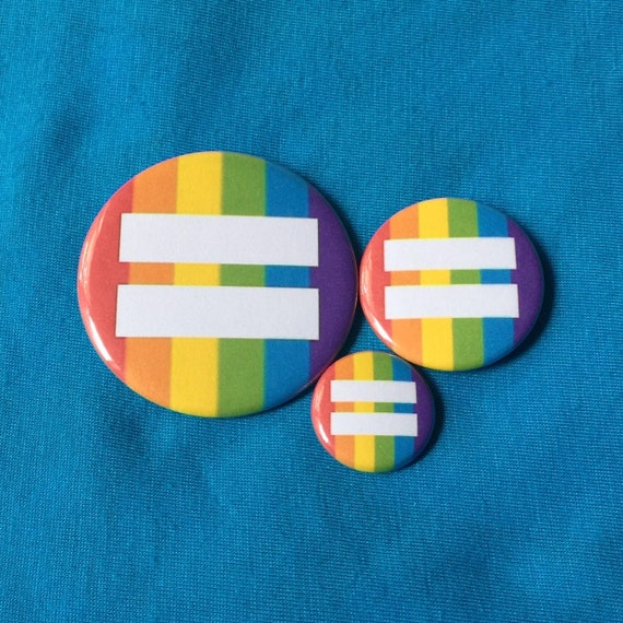 Pinback or Magnet Button or Badge Reel RAINBOW PRIDE Equal Rights