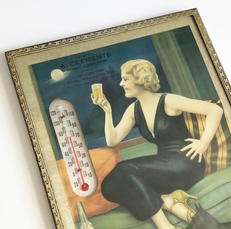 Vintage Beer Advertisement 1930/'s Ortleib/'s Beer Lithograph Print Ad with Thermometer Art Deco Home Bar Wall Decor Glass Front Metal Frame