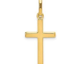 Childs Fleur-de-Lis Crucifix 14k Yellow Gold Pendant 14X9MM