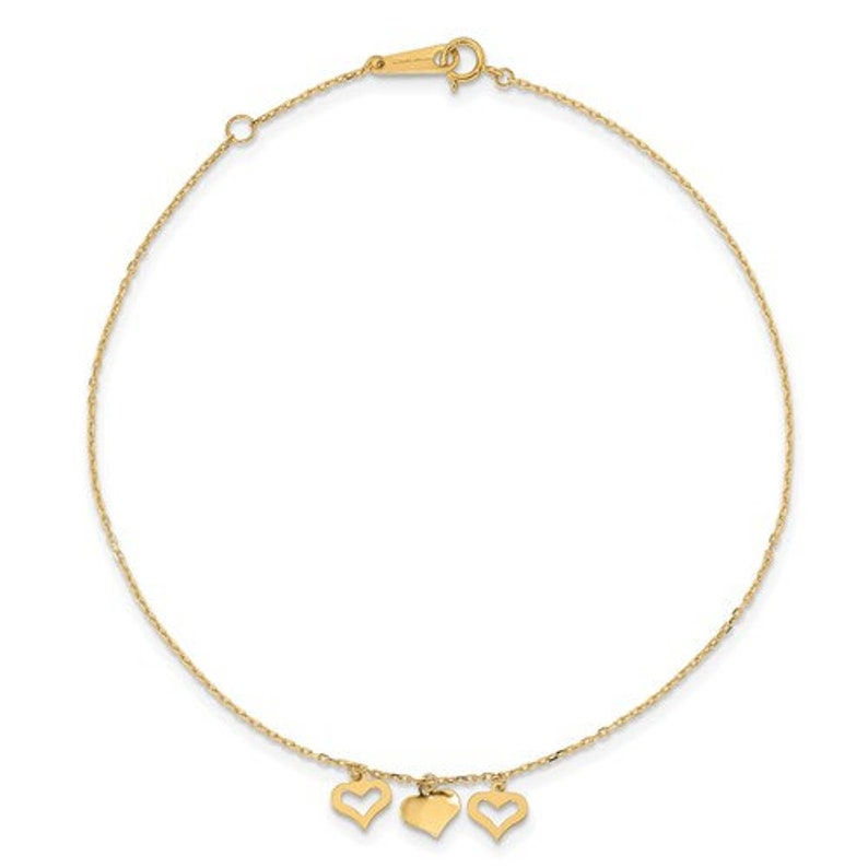 14k 3 Hearts 9in Plus 1in Extension Anklet