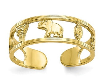 10k Yellow Gold Good Luck Symbolic Lucky Adjustable Toe Ring elephant ring