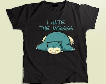 9dd43356 Pokemon shirt, Snorlax t-shirt kids, men's and women's shirt, clothing,  unisex t-shirt, cotton black t-shirt, birthday gift