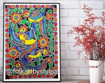 Handpainted Bee Illustration  madhubani notecard for all occasions framable  as wall art