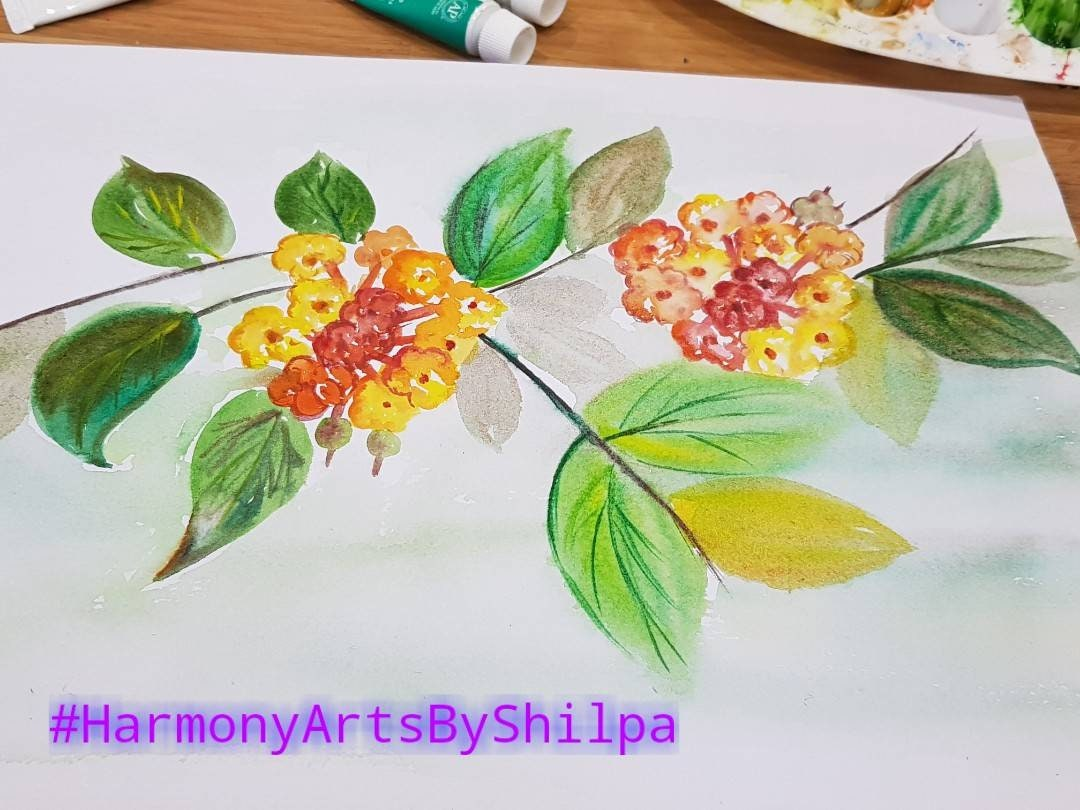 Original Watercolor Floral Painting Orange And Yellow Etsy