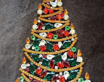 Large Czech Rhinestone Tree, Autumn Rhinestone Tree, Gold, Red, Green Rhinestone Tree, Crystal Tree, Holiday Decoration