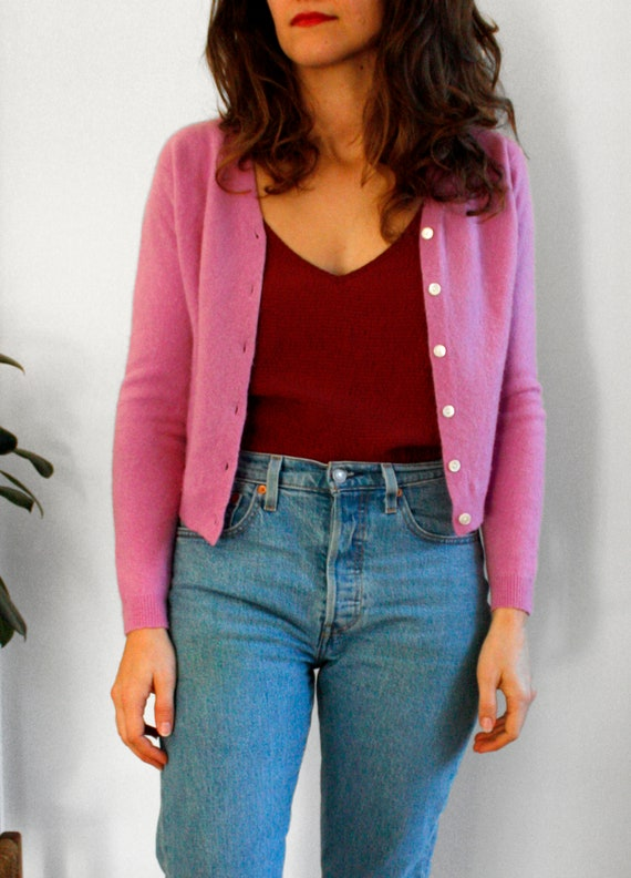Vintage cashmere cropped cardigan | Size S | Pink
