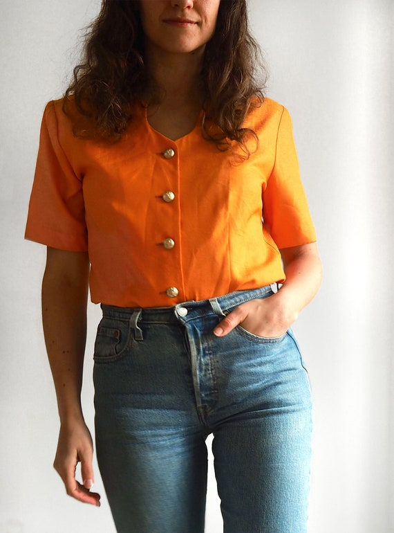 Vintage 80s button up short sleeve blouse // Size
