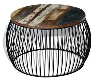 round coffee table industrial side table metall couchtisch industrie sofatisch beistelltisch lofttisch bunt tischplate massiveholz