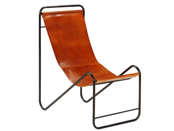 Swell Living Room Sling Chair Vintage Accent Chair Brown Leather Lounge Chair Industrial Occasional Chair Relax Lightweight Chair Metal Frame Camellatalisay Diy Chair Ideas Camellatalisaycom