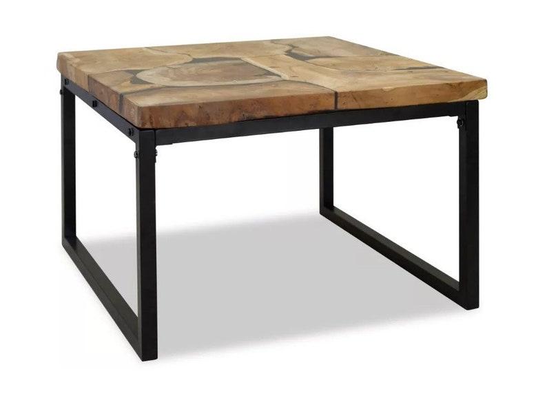 Side Table Teak.Industrial Coffee Table Rustic Design Side End Table Teak Wood Table Top Black Metal Legs Industrie Couchtisch Beistelltisch Sofatisch
