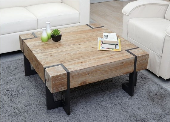 Industrial Large Coffee Table Wooden Square Coffee Table Etsy