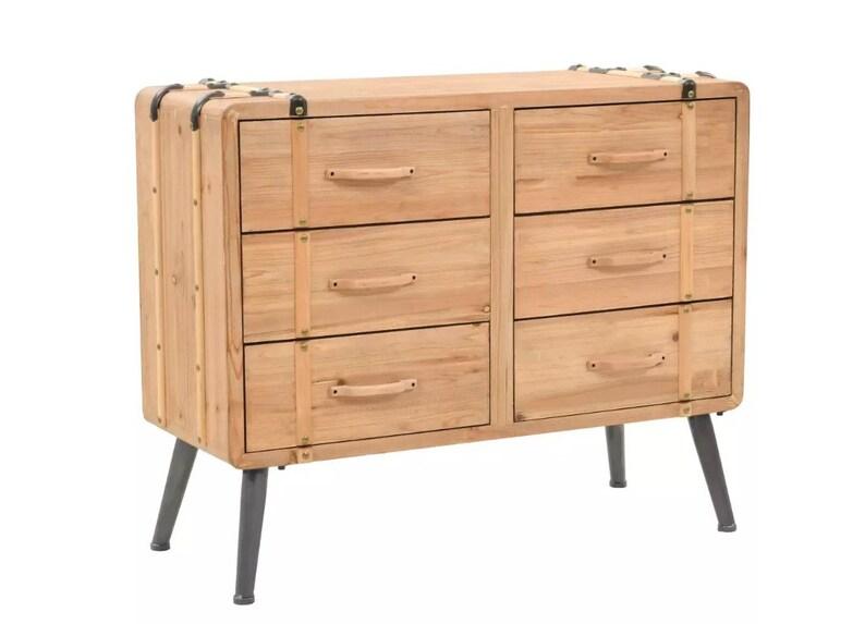 Industrial Living Room Sideboard Vintage Chest Of Drawers Solid Fir Wood Dresser Bedroom Storage Furniture Metal Legs Schubladenschrank