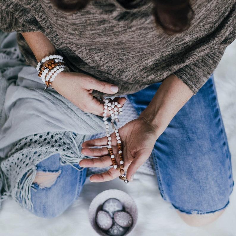 handmade mandala white jewelry wood clam bead Bracelet cabochon stainless steel