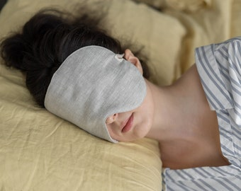 Oversized Linen Sleep Mask Pure Organic Eye mask for sleeping mask for Travel sleep mask lightening eco eye sleep mask  blindfold unisex