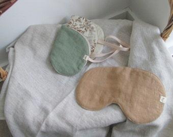 Travel accessories Linen bedding vintage clothes blue linen Sleep mask linen woman Linen sleep mask womens accessories