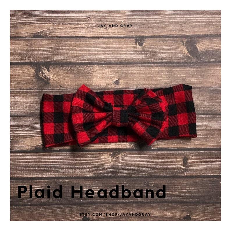 babytoddler headband Red Plaid Bow Headband baby gift plaid headwrap